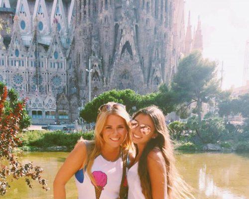 girls at Sagrada Familia Barcelona Spain