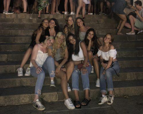 girls on stairs at Magic Fountain of Montjuïc Barcelona, Spain