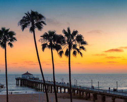 Sunset at California beach