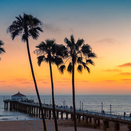 Sunset at California beach, Manhattan Beach, Los Angeles, USA.