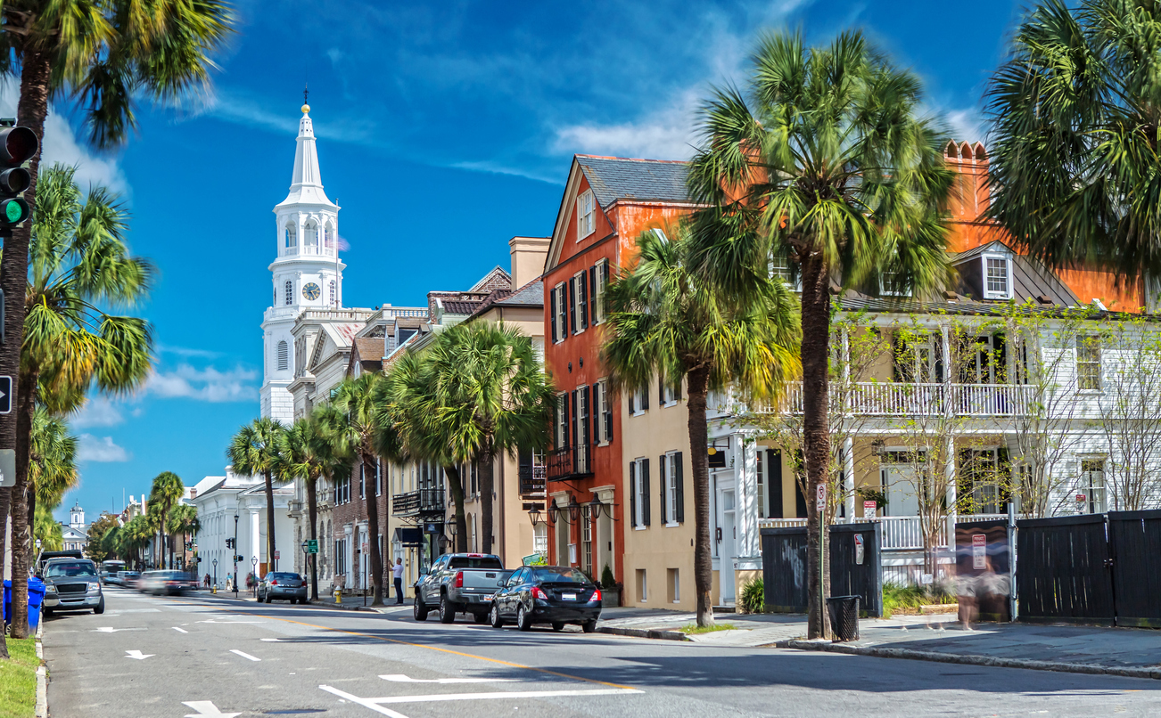 Scenic View of the St. Michaels Church from Broad St. in Charleston, SC